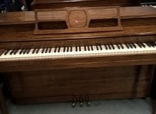 Used W P Haynes Spinet piano in Spanish Pecan