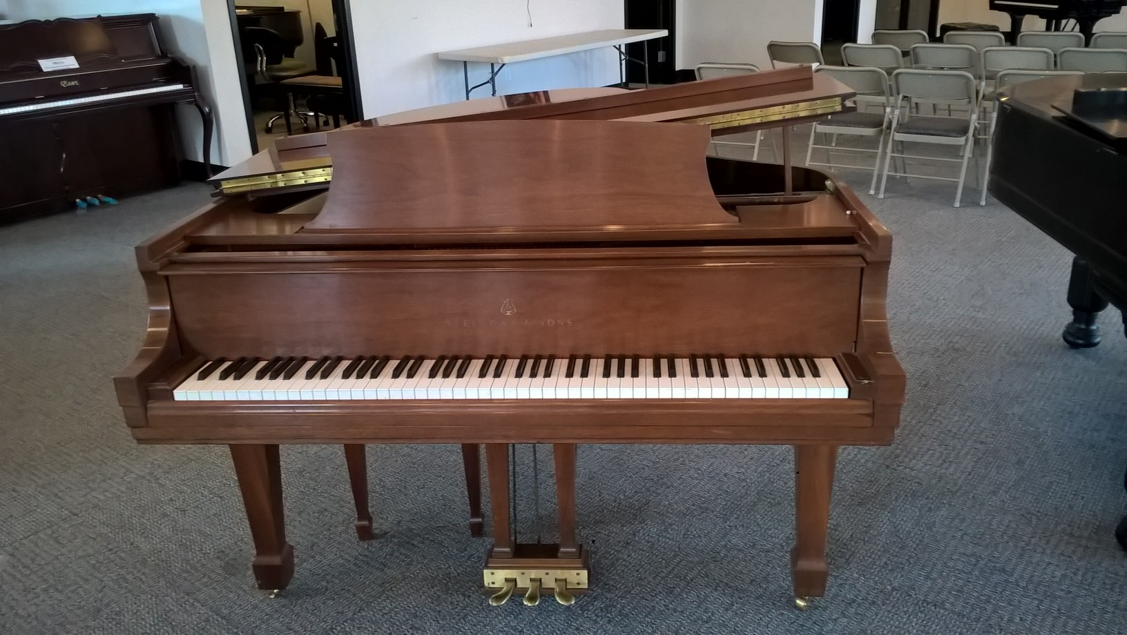 Used steinway m grand piano in walnut lustre at rice music for What size is a grand piano